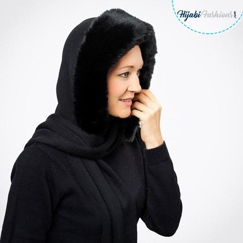Black hooded scarf