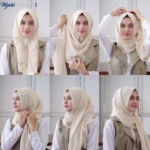 Triangle hijab style for school girls