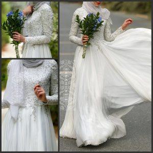 islamic bridal dresses with hijab